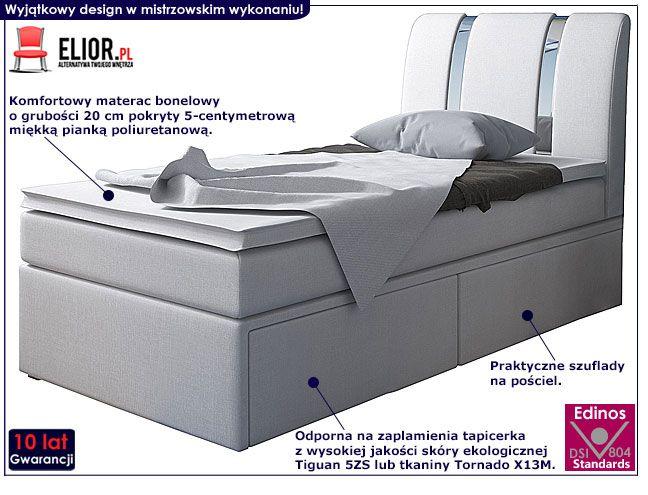 Młodzieżowe łóżko typu boxspring z szufladami 90x200 Varris