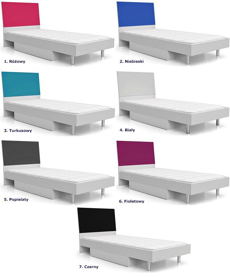 Młodzieżowe łóżko z materacem i pojemnikiem na pościel Kormi 90x200