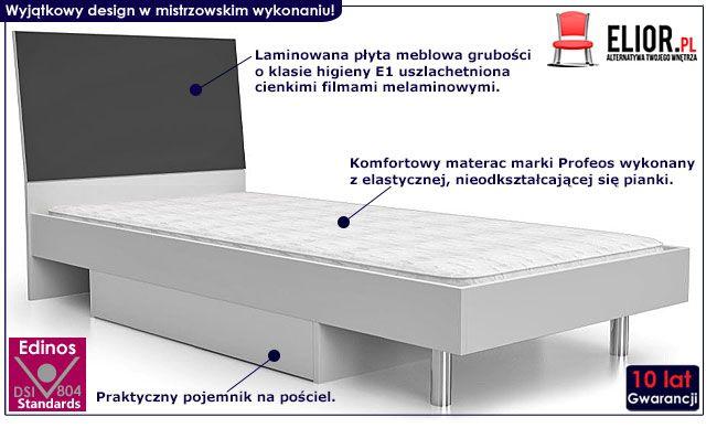 Popielate łóżko młodzieżowe z materacem Kormi 90x200