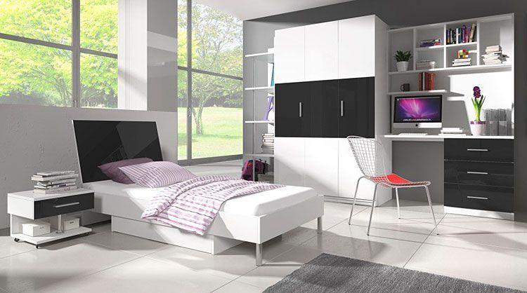 Białe łóżko dla dziecka z materacem 90x200 Kormi