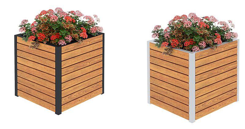 donica do ogrodu drewniana kwadrat