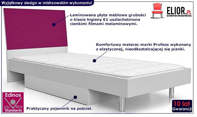 Fioletowe łóżko młodzieżowe z materacem 90x200 Kormi