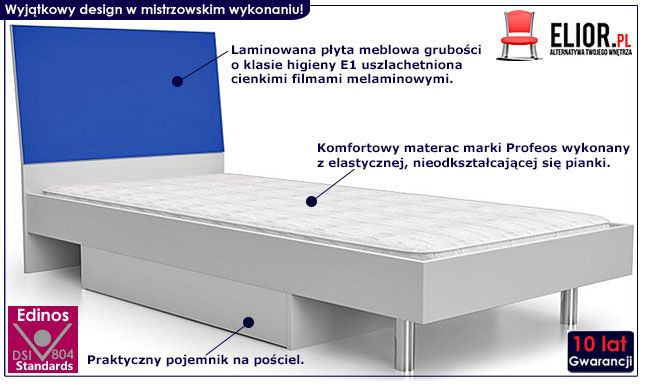 Niebieskie łóżko dla chłopca Kormi 90x200
