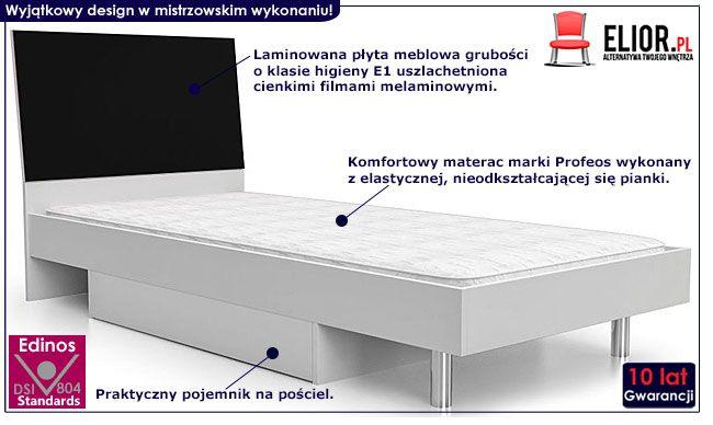 Czarne łóżko młodzieżowez szufladąn na pościel  90x200 Kormi