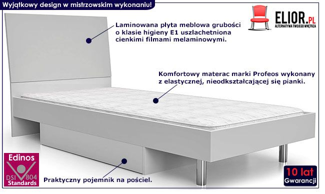 Białe łóżko dla chłopca, dziewczynki 90x200 Kormi