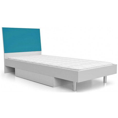Zdjęcie produktu Jednoosobowe łóżko z szufladą na pościel Kormi 90x200 - turkusowe.