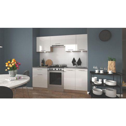 Zdjęcie produktu Zestaw mebli kuchennych Brenda - biały połysk + dąb sonoma.