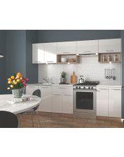 Zestaw mebli kuchennych Evissa - biały połysk + dąb sonoma