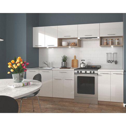 Zdjęcie produktu Zestaw mebli kuchennych Evissa - biały połysk + dąb sonoma.