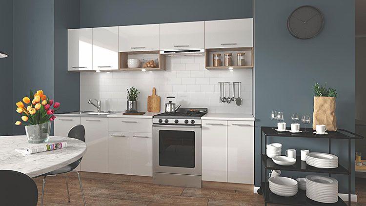 Lakierowane meble do kuchni biały połysk, dąb sonoma Evissa 260 cm