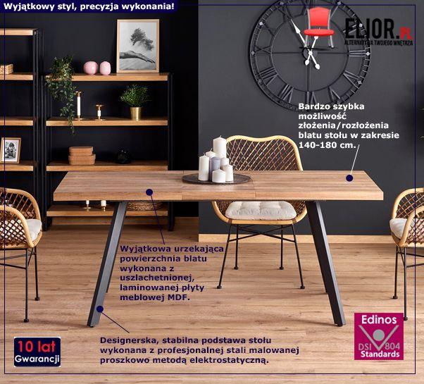 Designerski stół rozkładany Marceo - orzech miodowy