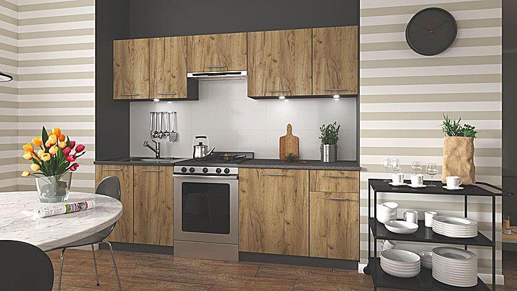Industrialny komplet mebli kuchennych dąb votan Silva
