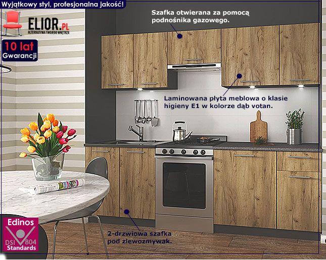 Loftowy zestaw mebli kuchennych dąb votan Silva 240 cm