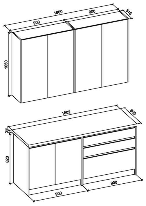 Zestaw mebli kuchennych Trida 180 cm