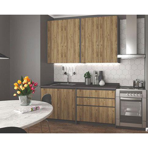 Zdjęcie produktu Zestaw mebli kuchennych Trida - dąb votan + antracyt.
