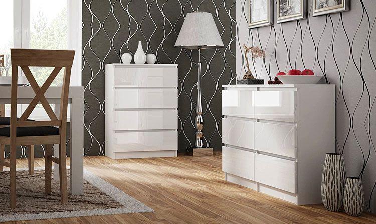 Lakierowana biała komoda do salonu, sypialni Marea 3X