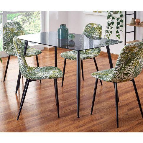 Zdjęcie produktu Szklany stół Faleo - dymiony + czarny.