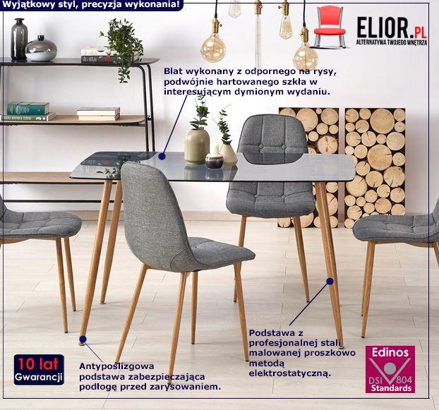 Designerski stół Faleo - dymiony