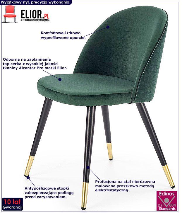 Nowoczesne krzesło butelkowa zieleń Noxin