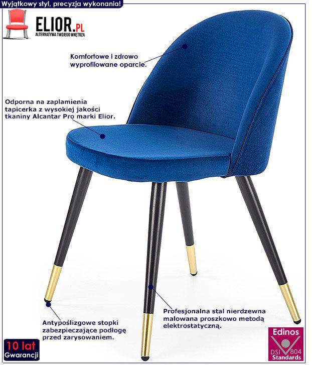Granatowe krzesło tapicerowane Noxin