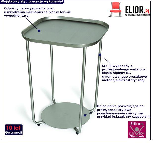 Designerski stolik Pallo - srebrny