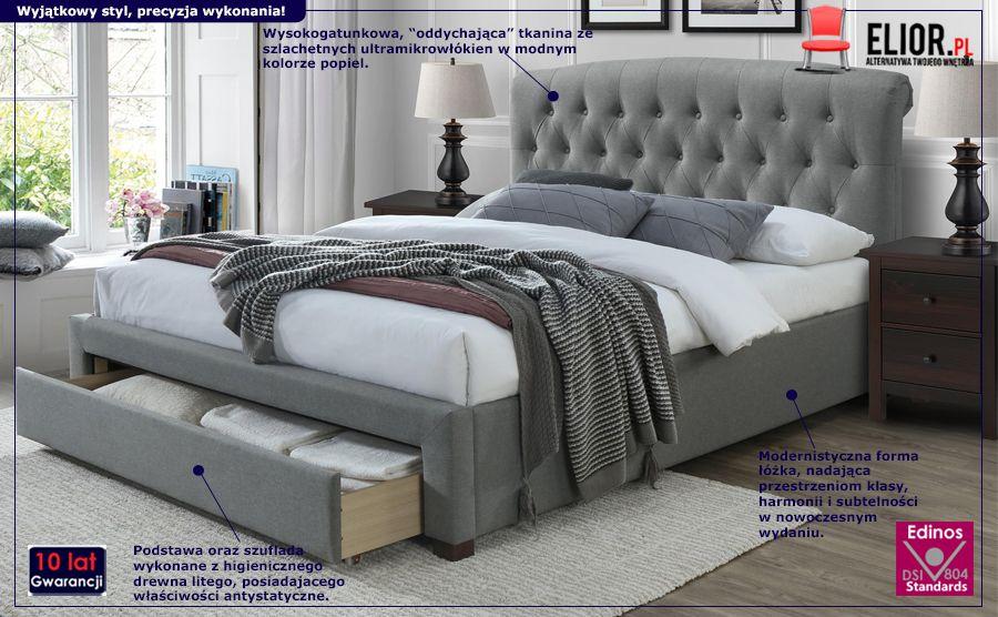 Pikowane łóżko Lami - szare