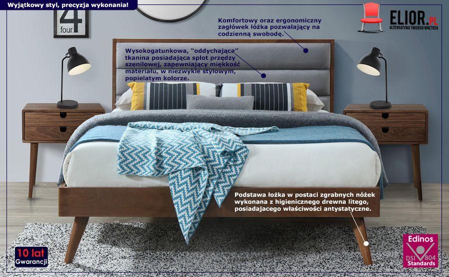 Vintage łóżko Otto - szare orzech