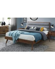 Łóżko Otto 160x200 cm - szare + orzech w sklepie Edinos.pl
