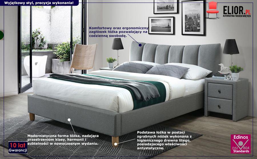 Komfortowe łóżko Sandis - popielate