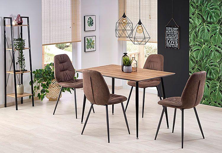 Brązowe krzesło w industrialnym stylu Dorian