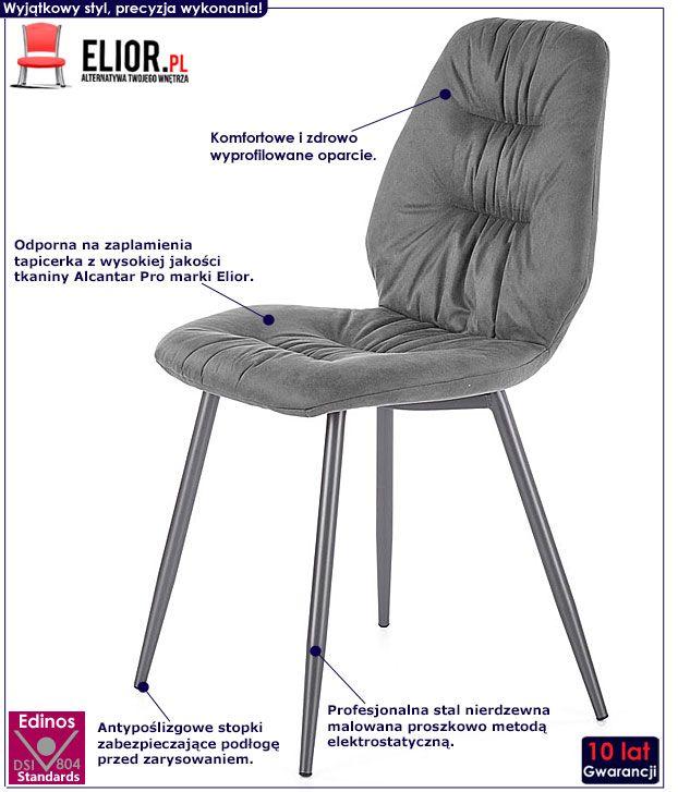 Szare krzesło w industrialnym stylu Dorian