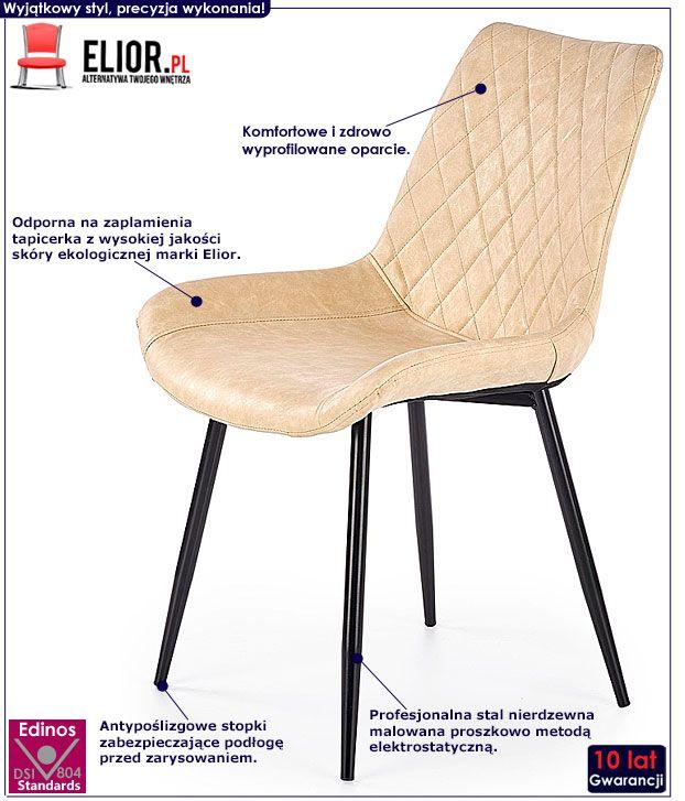 Beżowe krzesło tapicerowane do stołu Rikon