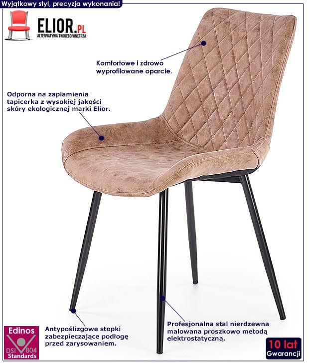 Brązowe krzesło pikowane kuchenne Rikon