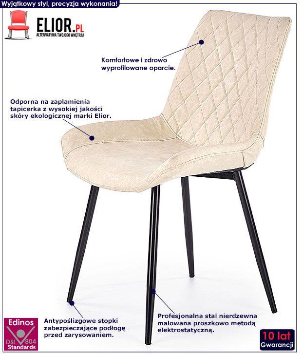 Kremowe krzesło tapicerowane do jadalni, salonu Rikon