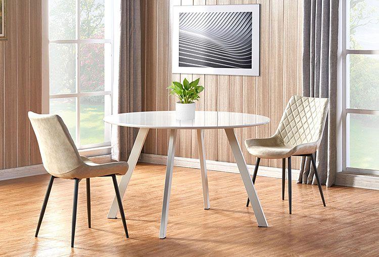 Kremowe krzesło tapicerowane Rikon