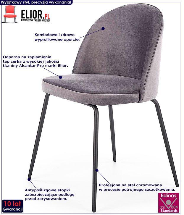 Szare krzesło tapicerowane do stołu Anvar