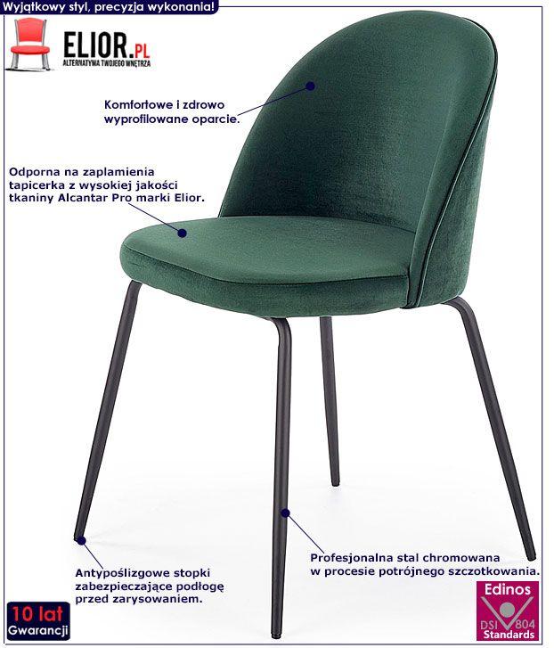Tapicerowane krzesło do stołu butelkowa zieleń Anvar