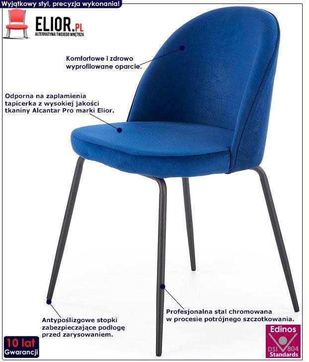 Granatowe krzesło tapicerowane do stołu, biurka Anvar