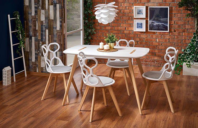 Białe krzesło drewniane do jadalni, salonu Carter