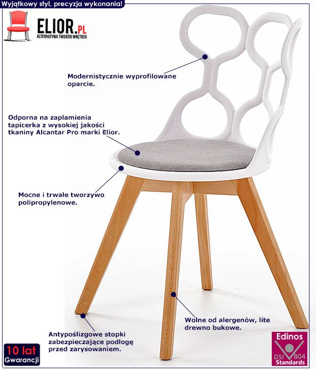 Białe nowoczesne krzesło kuchenne Carter