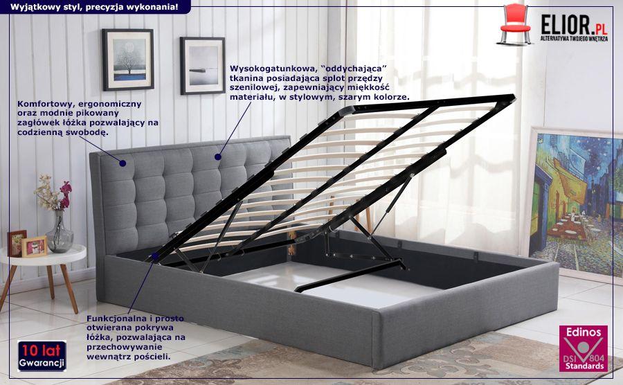 Popielate łóżko Mebio - pikowane