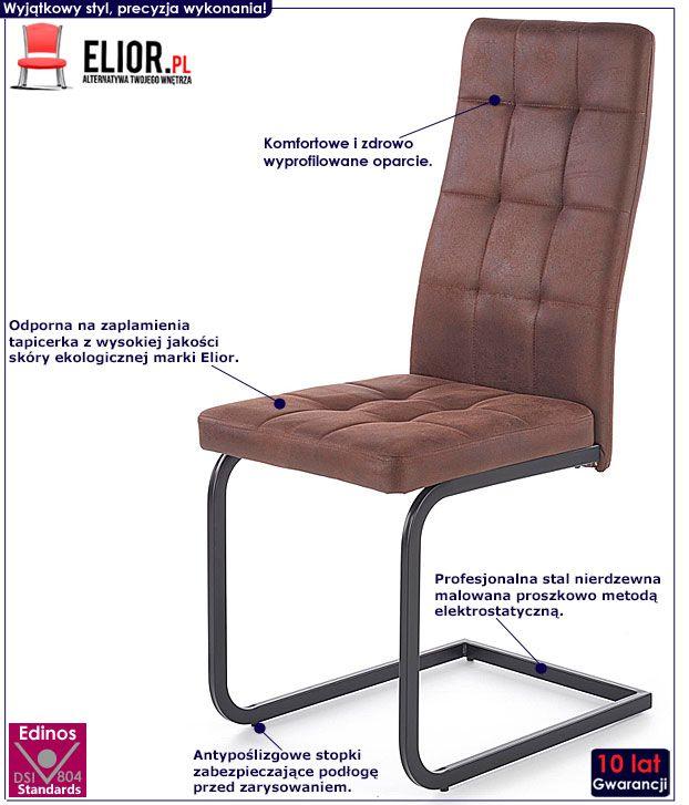 Brązowe krzesło w industrialnym stylu Senter