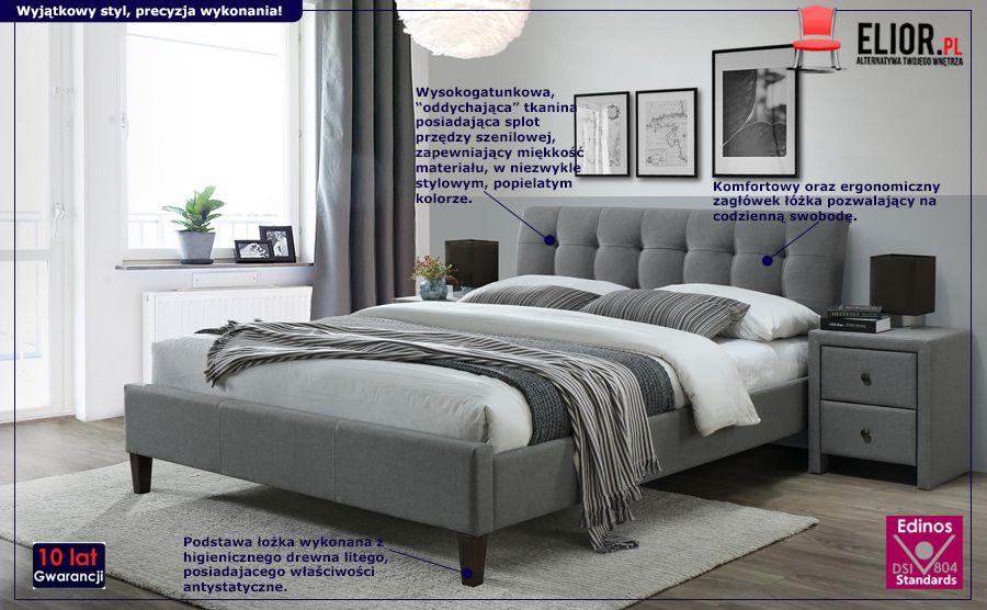 Modne łóżko Iplo - popielate