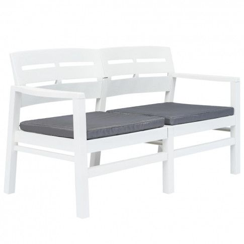 Zdjęcie produktu vidaXL Ławka ogrodowa z poduszkami, 2-os., 133 cm, plastik, biała.