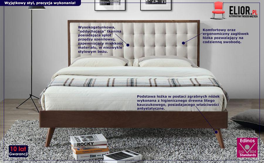 Stylowe łóżko Auston - orzech