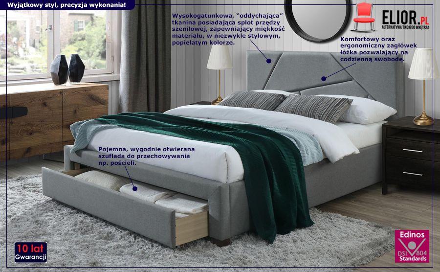Pikowane łóżko Dubio - szare