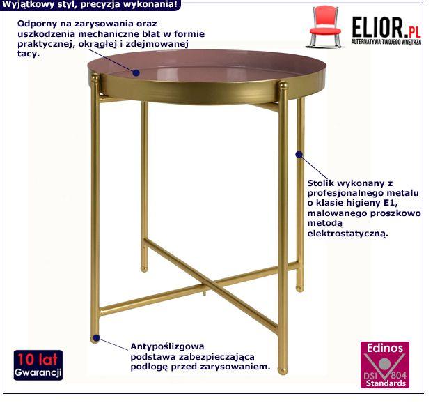 Designerski stolik Glami - różowy