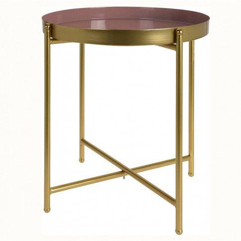 Zdjęcie produktu Stolik kawowy Glami - złoty + różowy.