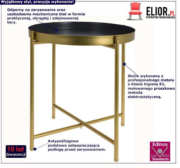 Złoty stolik Glami - okrągły