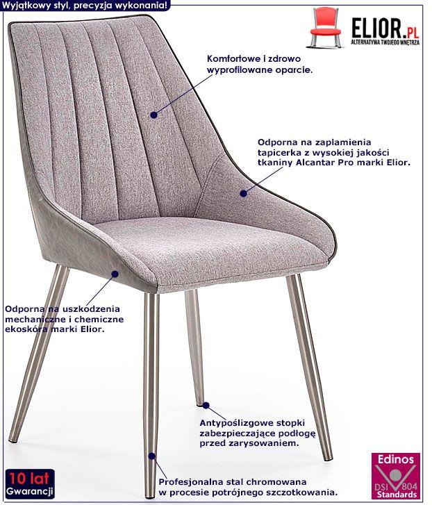 Tapicerowane szare krzesło do kuchni, salonu Voltan